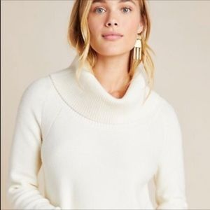 Anthropologie Cream Knit Cowl Neck Sweater Size XL